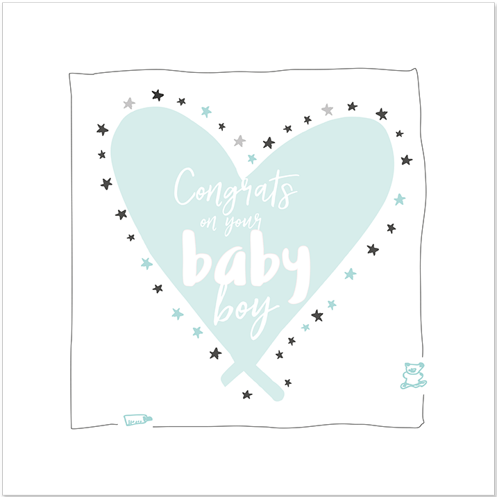 Congrats on your baby boy Soft green - flower illustration