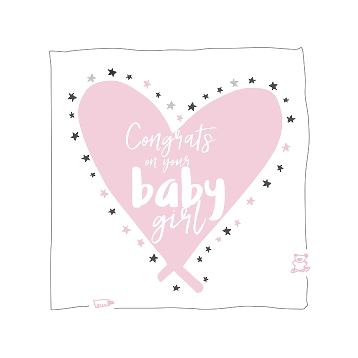 Congrats on your baby girl Soft pink - light grey squares