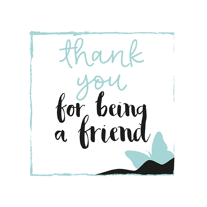 Thank you for being a friend Soft green - flower illustration